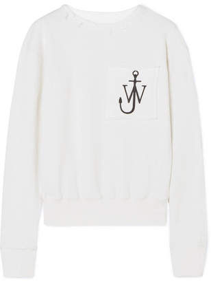 J.W.Anderson Frayed Embroidered Cotton-jersey Sweatshirt - Off-white