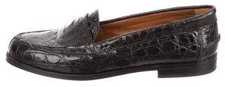 Gucci Crocodile Round-Toe Loafers