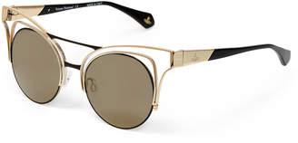 Vivienne Westwood Cutout Cat-Eye Sunglasses Gold/Black VW936S02