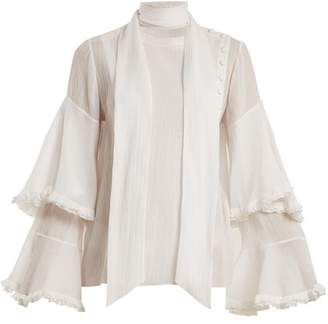 Chloé Bell Sleeved Tie Neck Cotton Blend Gauze Blouse - Womens - White
