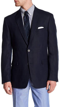 Tommy Hilfiger Navy Woven Two Button Notch Lapel Linen Jacket $295 thestylecure.com