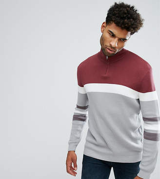 Asos TALL Ribbed Half Zip Sweater In Burgundy And Charcoal