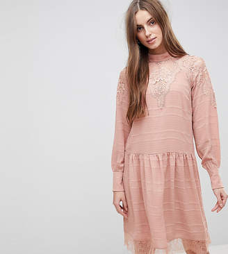 Y.A.S Tall lace detail midi skater dress in pink