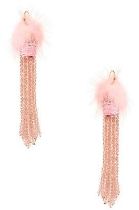 Amrita Singh Women's Fur Ball Tassel Statement Earrings