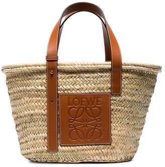 Loewe Logo medium raffia basket bag with leather trim