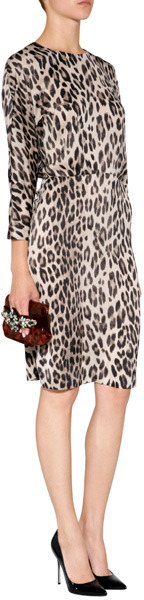 L'Agence LAgence 3/4 Sleeve Dress in Creme Leopard
