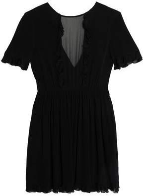 Chiffon-Paneled Ruffle-Trimmed Crepe Mini Dress