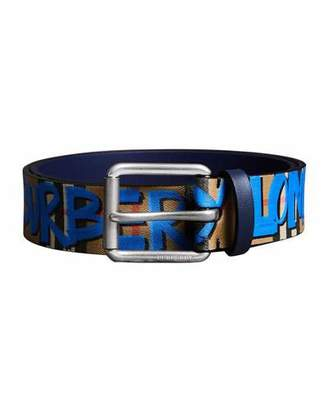 Burberry Men's Mark Graphic-Print Belt