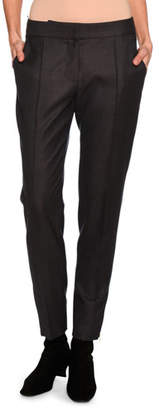 Stella McCartney Vivan Skinny Wool Zip-Cuff Pants, Dark Gray
