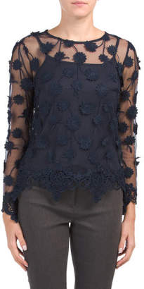 Long Sleeve Sheer Top With Applique