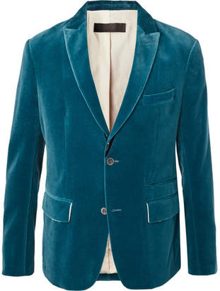Haider Ackermann Petrol Cotton-Velvet Blazer - Men - Petrol