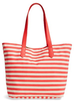 Bp. Faux Leather Trim Canvas Tote - Pink $29 thestylecure.com