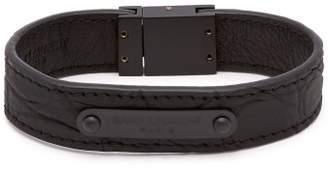 Saint Laurent Logo Leather Cuff Bracelet - Mens - Black
