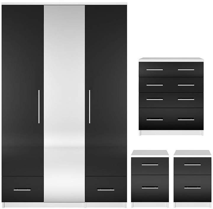 Cologne Gloss 4-Piece Package - 3 Door, 2 Drawer Mirrored Wardrobe, 4 Drawer Chest, 2 Bedside Cabinets