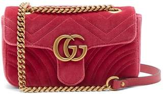 Gucci Gg Marmont Mini Quilted Velvet Cross Body Bag - Womens - Pink