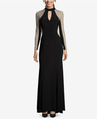 Xscape Evenings Embellished Mock-Neck Illusion Gown, Regular & Petite