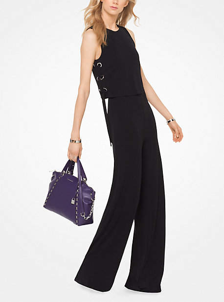Michael Kors Stretch-Jersey Lace-Up Jumpsuit