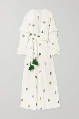 Leone We Are we are Embroidered Swiss-dot Cotton Robe - White