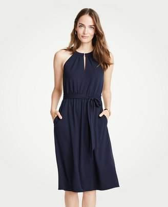 Ann Taylor Petite Halter Tie Waist Flare Dress