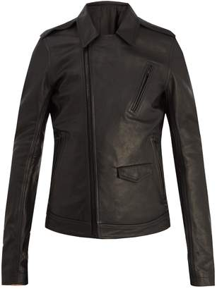 Rick Owens Point-collar leather jacket
