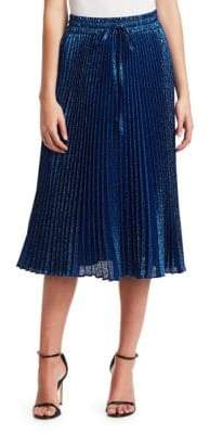 RED Valentino Metallic Pleated Midi Skirt