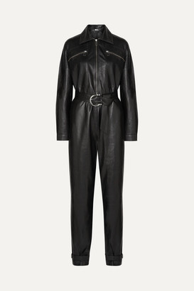 Dodo Bar Or Barbara Belted Leather Jumpsuit - Black