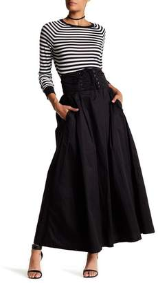 TOV Lace-Up A-Line Maxi Skirt