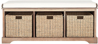 One Kings Lane Ada 3-Basket Storage Bench - White