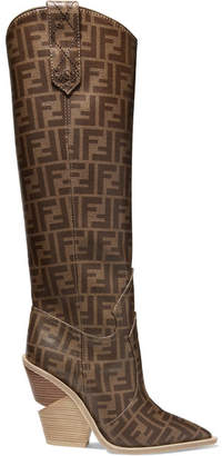 Fendi Logo-print Coated-canvas Knee Boots - Brown