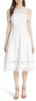 Ted Baker Structured Lace Cold Shoulder Midi Dress