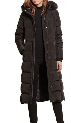 Women's Lauren Ralph Lauren Faux Fur Trim Hooded Down & Feather Fill Maxi Coat $390 thestylecure.com