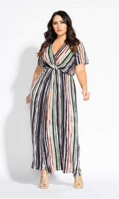 City Chic Citychic Jungle Stripe Short Sleeve Maxi Dress - black