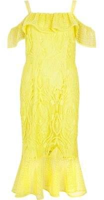 River Island Womens Yellow lace peplum hem occasion dress