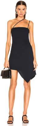 Mason by Michelle Mason for FWRD Asymmetrical Strap Dress in Midnight | FWRD