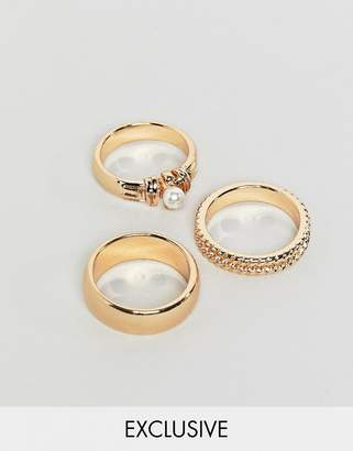 Reclaimed Vintage inspired pack of 3 gold mixed detail rings