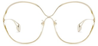 Gucci Round Frame Metal And Faux Pearl Glasses - Womens - Clear