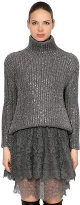 Ermanno Scervino Embellished Wool Knit Turtleneck Sweater