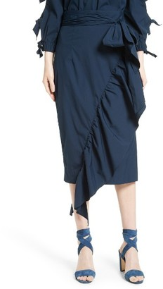 Women's Milly Ruffled Stretch Poplin Skirt $350 thestylecure.com