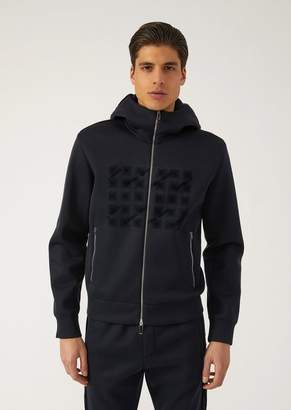 Emporio Armani Zipped Hooded Sweatshirt With Print And Flocked Details