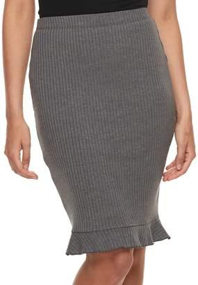 Juniors' Joe B Ruffle Ribbed Pencil Skirt