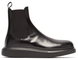 Alexander McQueen Exaggerated Sole Leather Chelsea Boots - Mens - Black
