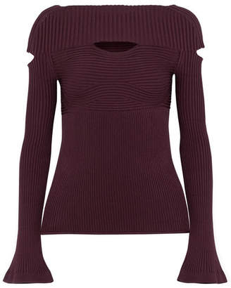 Cushnie et Ochs - Daria Cutout Ribbed Jersey Top - Grape $695 thestylecure.com