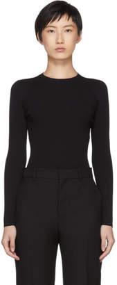 Balenciaga Black Fine Rib Knit Logo Crewneck Sweater