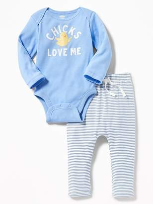 "Old Navy ""Chicks Love Me"" Bodysuit & Jersey Pants Set for Baby"