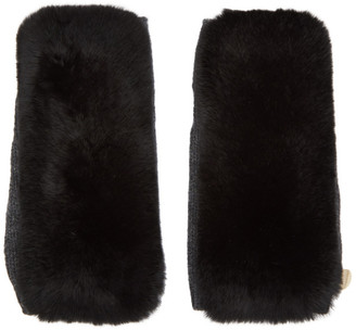 Yves Salomon Black and Grey Fur Handwarmer Gloves