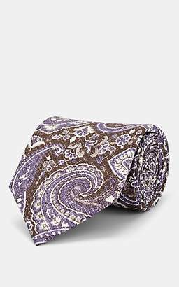 Isaia Men's Paisley Silk Necktie - Brown