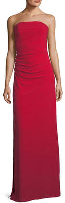Halston Strapless Ruched Bodice Crepe Column Evening Gown