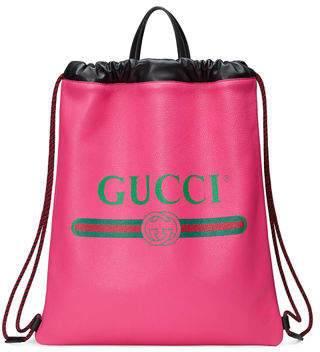 Gucci Print Leather Drawstring Backpack