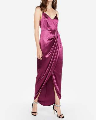 Express Satin Wrap Front Maxi Dress