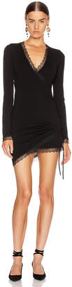 Jonathan Simkhai Cross Front Long Sleeve Mini Dress in Black | FWRD